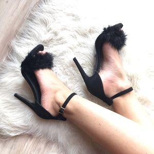 Fluffy black heels
